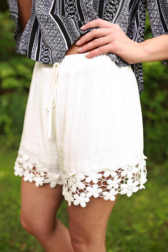 Miss Perfect Crochet Trim Shorts in White
