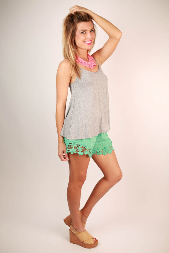 Miss Perfect Crochet Trim Shorts in Ocean Wave