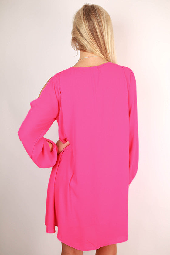 Let's Travel Shift Dress in Hot Pink