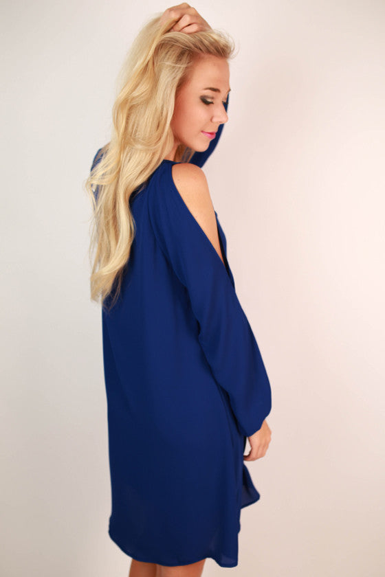 Let's Travel Shift Dress in Royal Blue