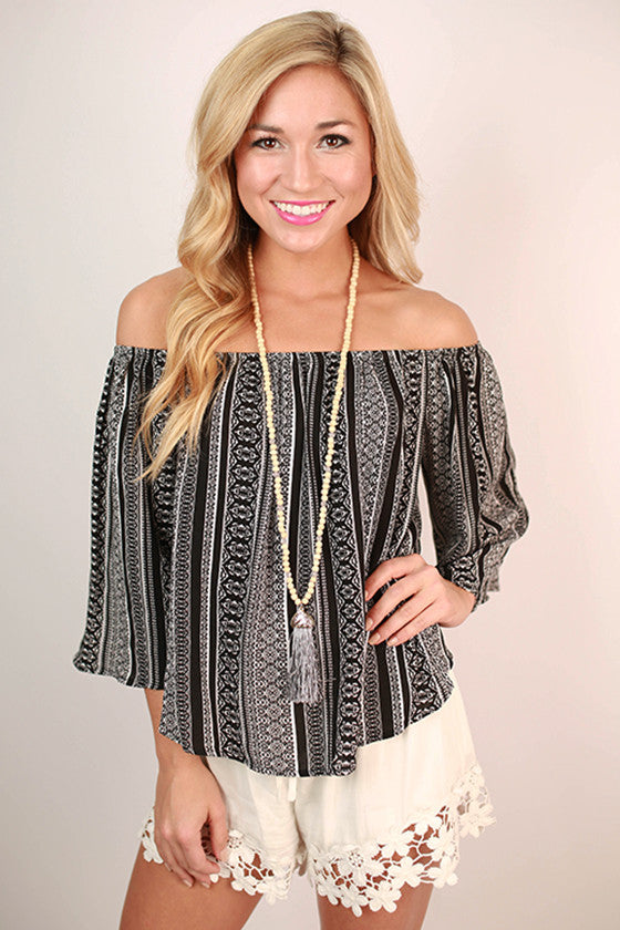 St. Thomas Vacay Off Shoulder Flutter Top in Black