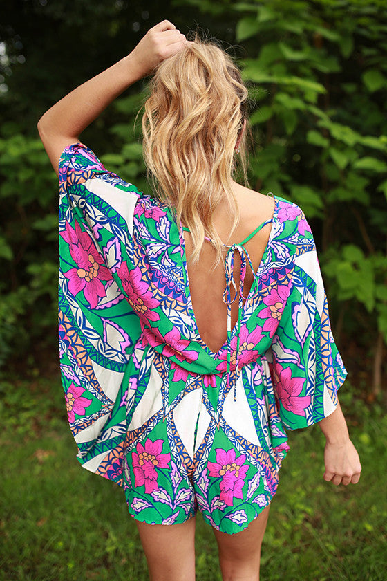 Girl's Day Out Print Romper in Jade