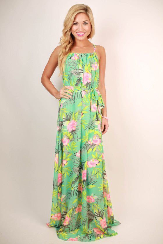Meet Ya In The Tropics Print Maxi Dress