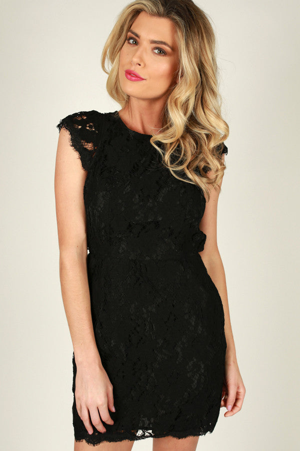 Queen's Lace Mini Dress in Black