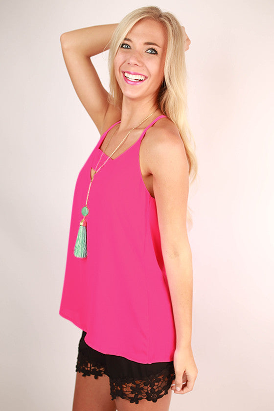 Lemonade Sipping Tank in Hot Pink