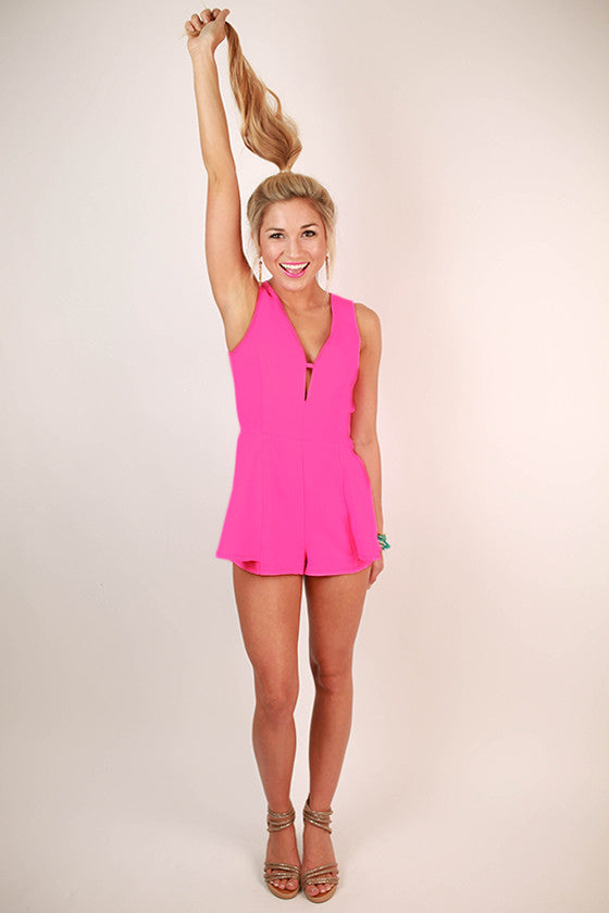 The Trendsetter V-Neck Romper in Pink