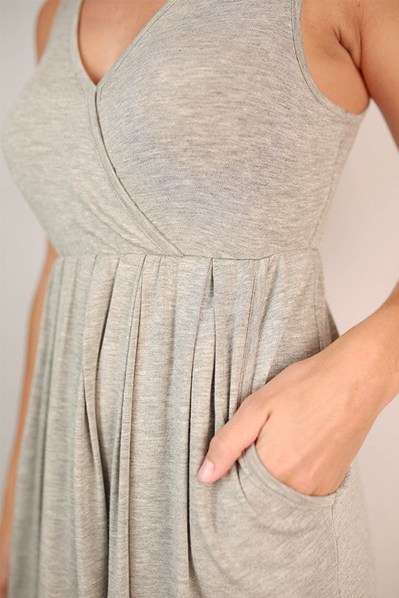 Pocket So Perfect Tank Dress in Grey