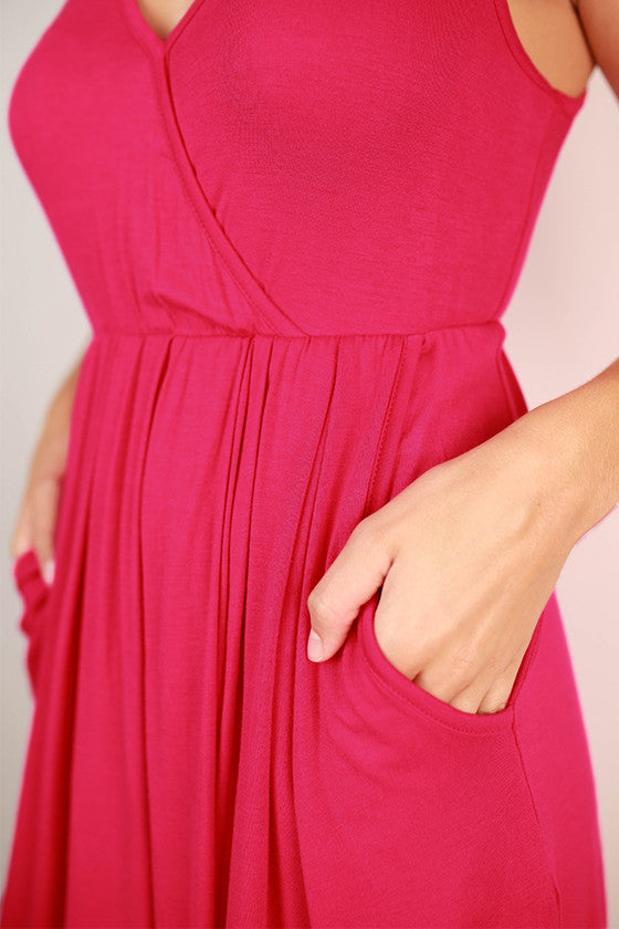 Pocket So Perfect Tank Dress in Hot Pink