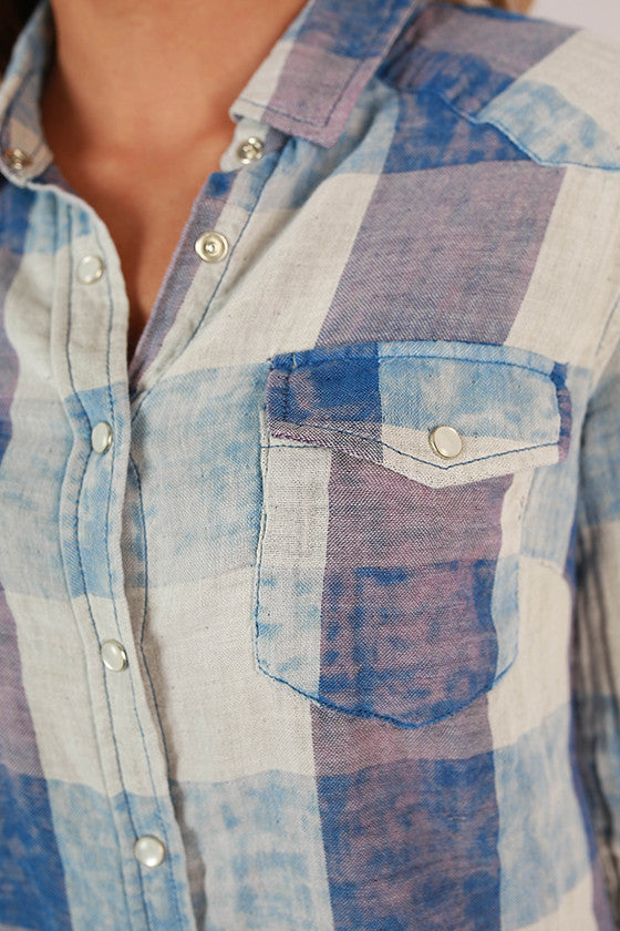 Plaid For Keeps Button Up Top in Indigo