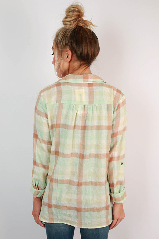 The Best of Times Plaid Cardi in Seafoam