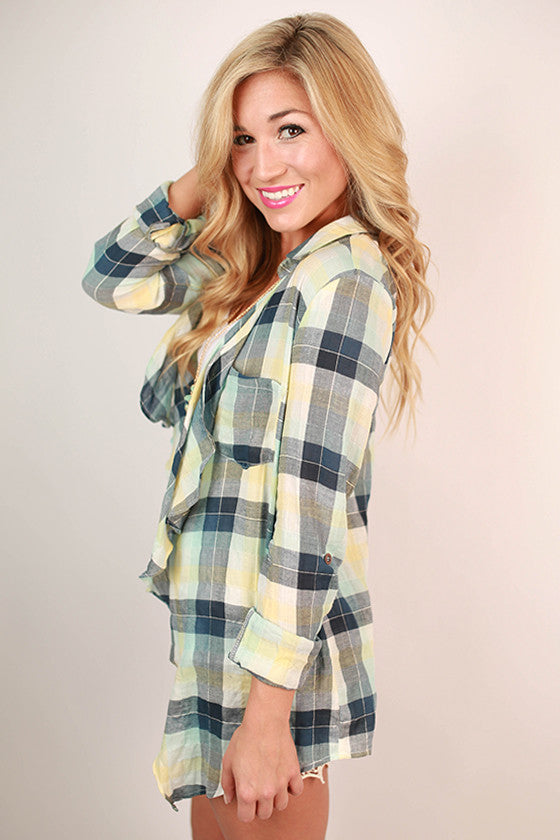 The Best of Times Plaid Cardi in Navy