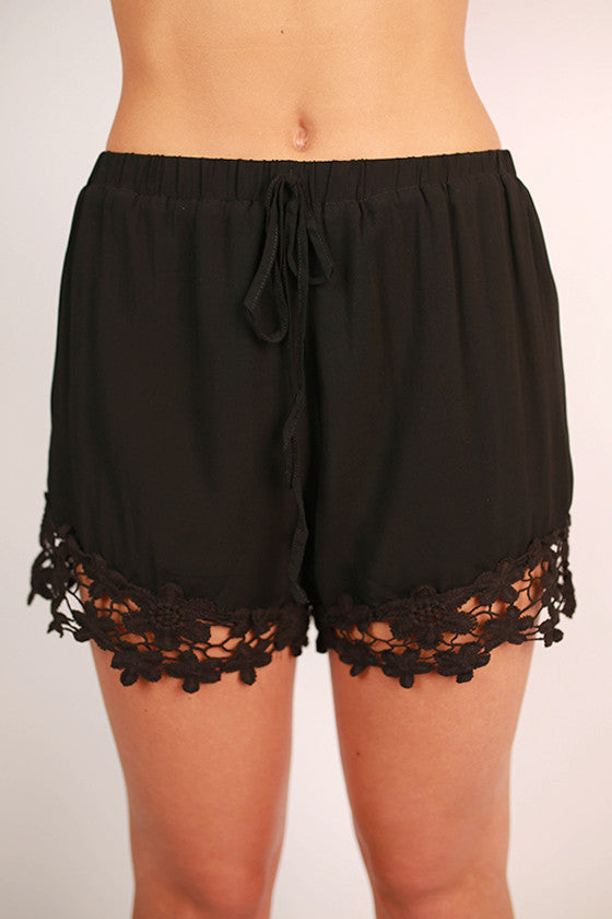 Miss Perfect Crochet Trim Shorts in Black