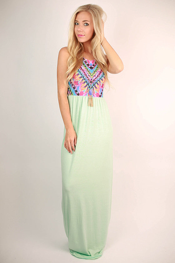 Sangria Sipping Maxi Dress in Ocean Wave