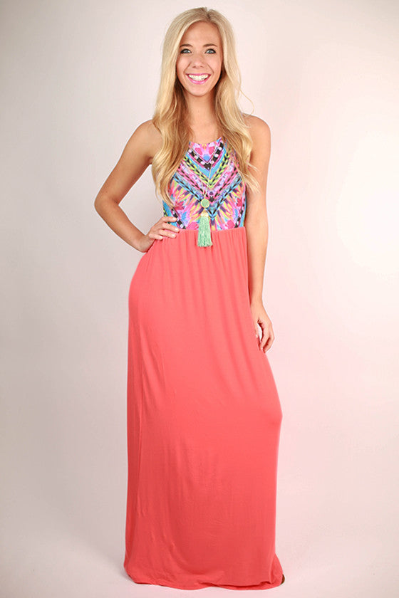 Sangria Sipping Maxi Dress in Peach