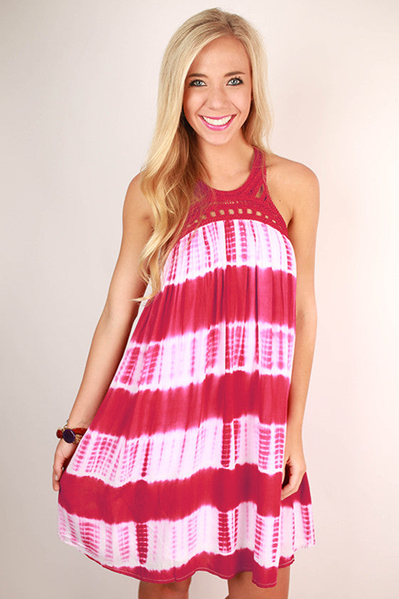 Boardwalk Date Night Tie Dye Dress in Sangria