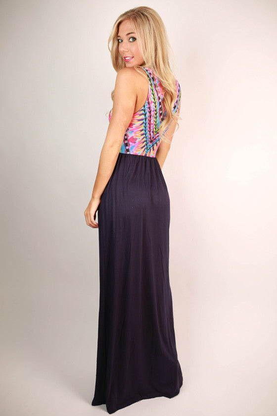 Sangria Sipping Maxi Dress in Navy