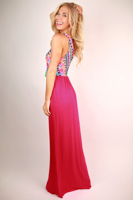 Sangria Sipping Maxi Dress in Hot Pink