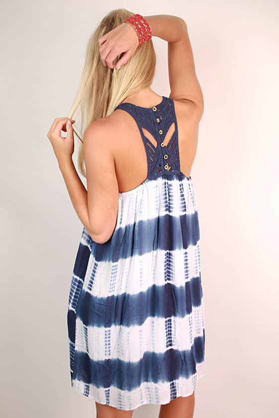 Boardwalk Date Night Tie Dye Dress in Dark Blue