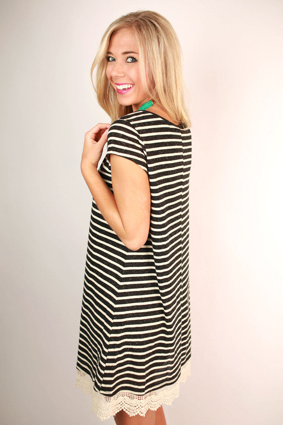 Palm Beach Stripe T-Shirt Dress in Black