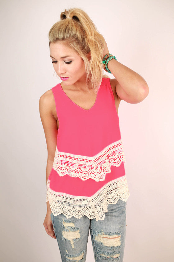 Lola Layers Crochet Trim Tank in Hot Pink
