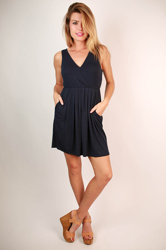 Pocket So Perfect Tank Dress in Navy