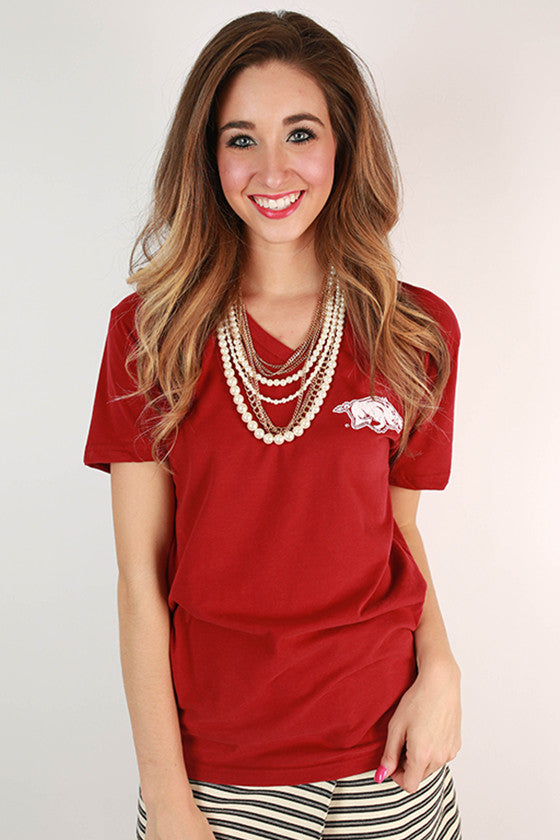 Suede Little Razorback V-neck Tee