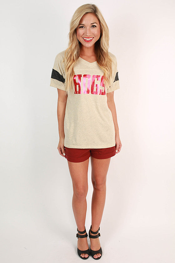 HOGS Distressed Football Tee in Oatmeal