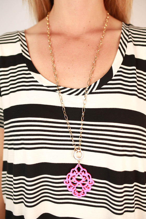 Cool Capri Necklace in Fuchsia