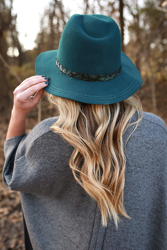 Fashion Week Feather Hat in Teal