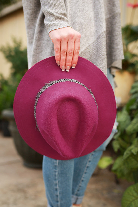 Fashion Week Feather Hat in Berry