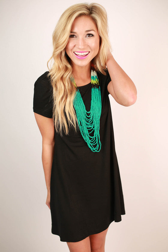 Constant Giggles Open Back T-shirt Dress in Black