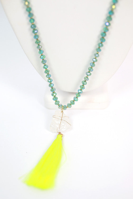Dancing Queen Necklace in Neon Yellow