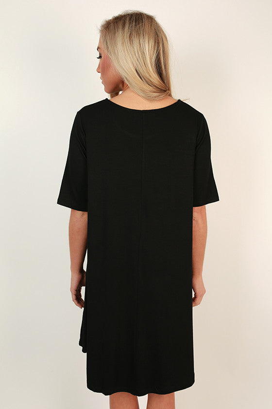 Weekend Vibes T-shirt Dress in Black
