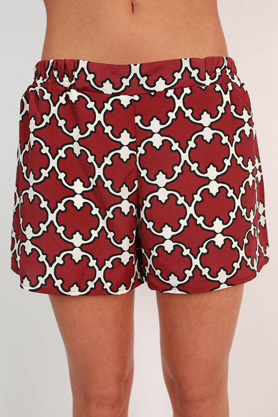 Go To Girl Shorts in Maroon