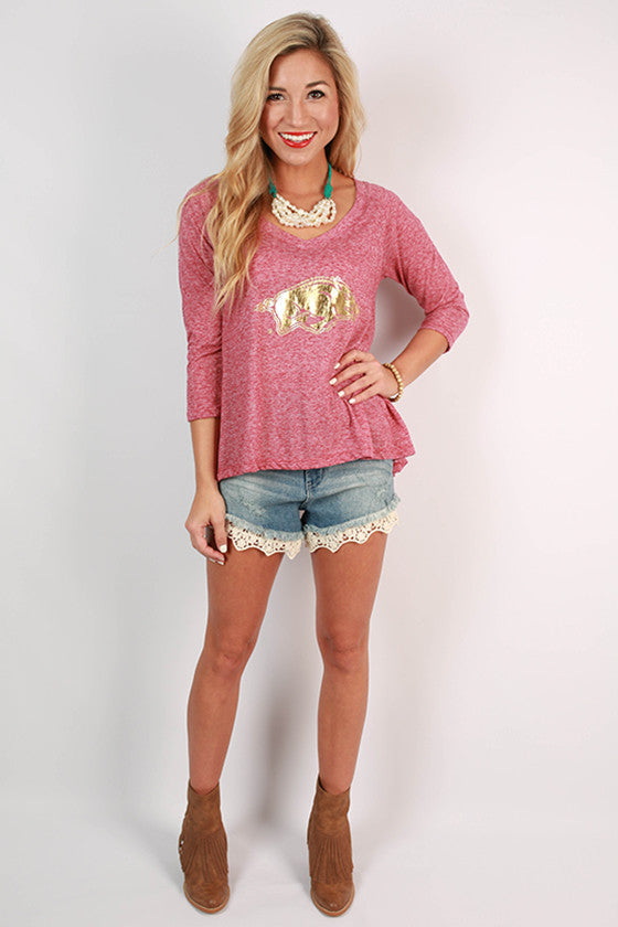 Distressed Gold Razorback Hi-Lo Top