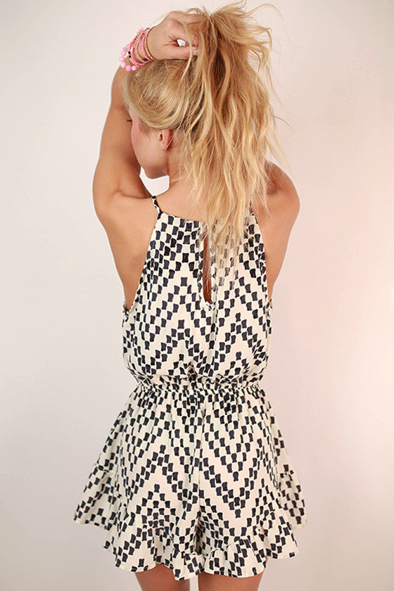 Maldives Mosaic Flare Romper in Ivory