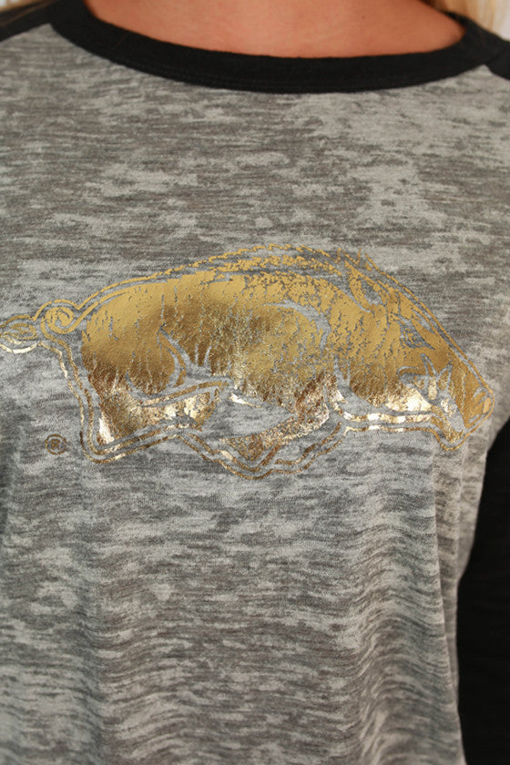 Big League Burnout Tee Gold Razorback