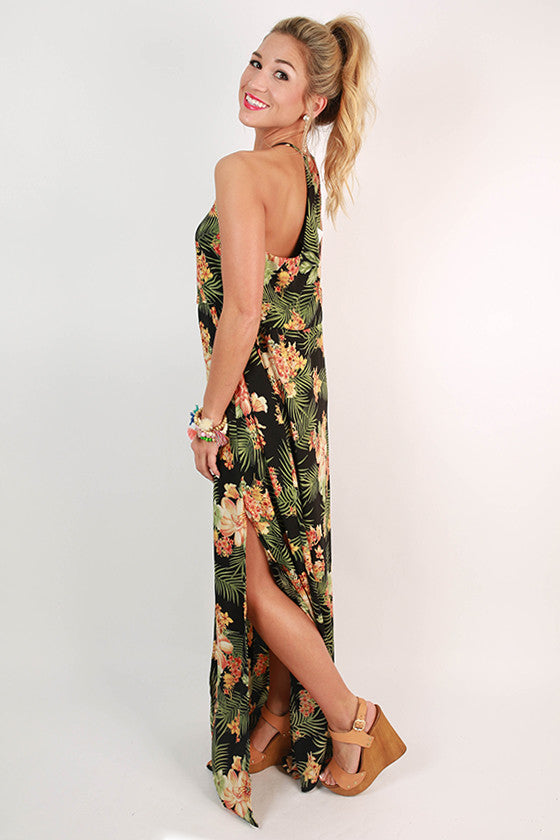 Meet Me In Mykonos Floral Maxi Dress in Black