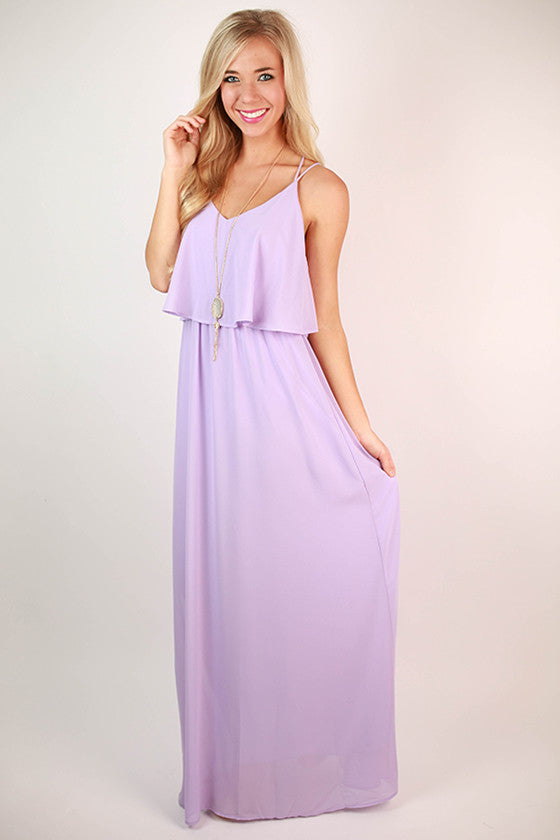 Brunch & Peonies Maxi Dress in Lavender