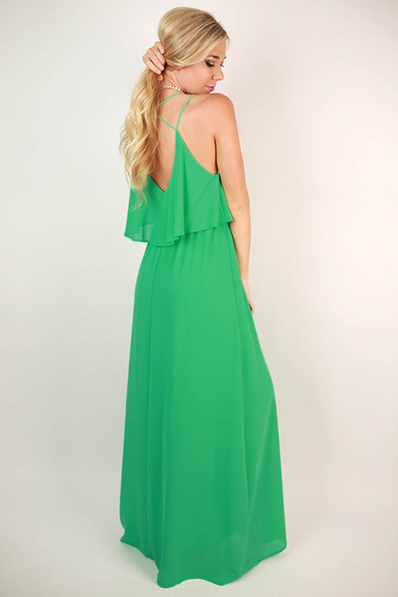 Brunch & Peonies Maxi Dress in Ocean Wave