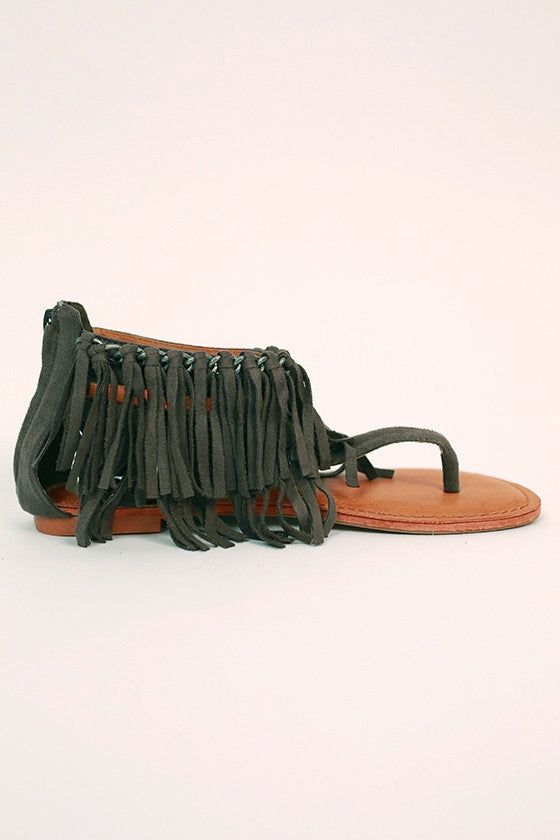 Keep The Peace Fringed Sandal in Grey