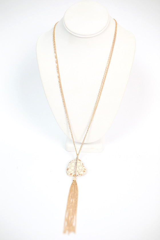 Morning Glory Tassel Necklace in Ivory