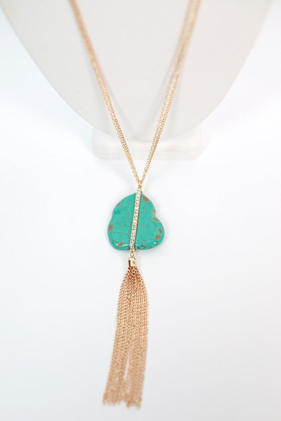 Morning Glory Tassel Necklace in Turquoise