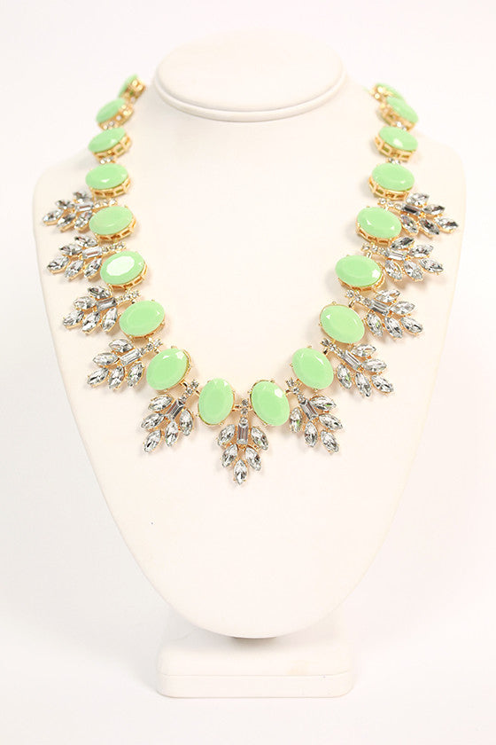 Champagne Giggles Necklace in Mint