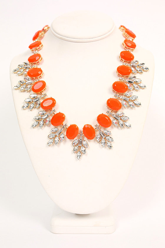 Champagne Giggles Necklace in Neon Orange