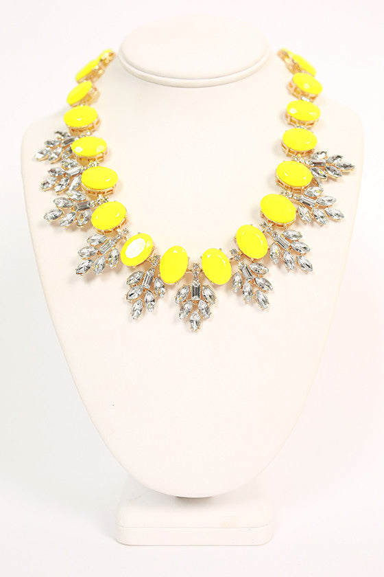 Champagne Giggles Necklace in Neon Yellow