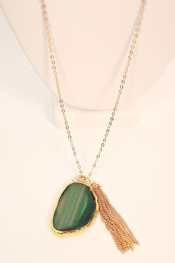 Juniper Divine Natural Stone Tassel Necklace in Dark Emerald