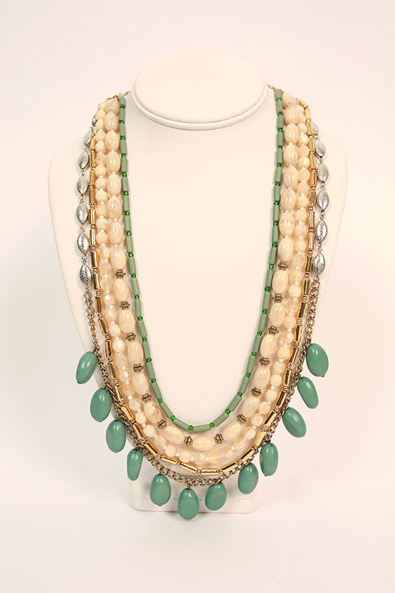 Style Me Pretty Layered Necklace in Teal