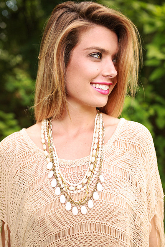 Style Me Pretty Layered Necklace in White