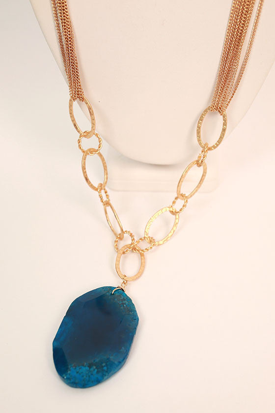 Radiating Beauty Natural Stone Necklace in Royal Blue